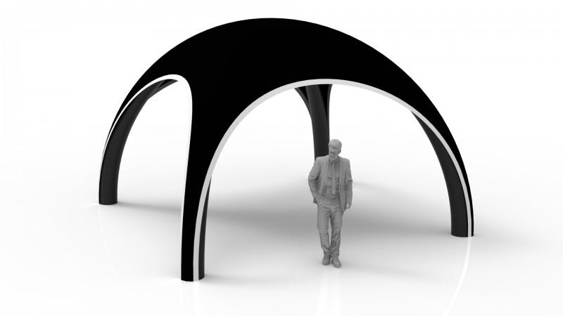 Aufblasbares Dome Zelt 5 m mit schwarze Standbeine