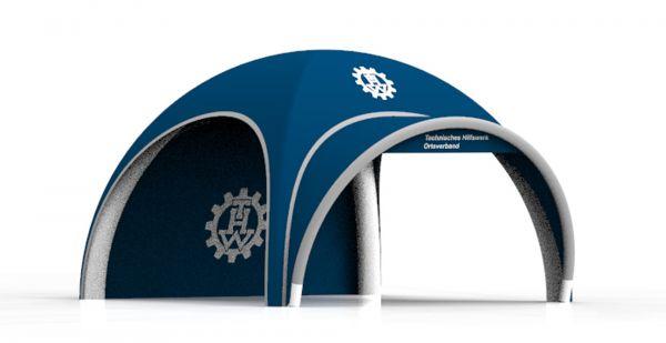 Einsatzzelt mobile Teststation - Aufblasbares Domezelt bedruckt 4x4 Meter