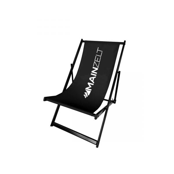Liegestuhl aus Aluminium Schwarz inkl 1-farbiger Druck ohne Armlehne Strandstuhl