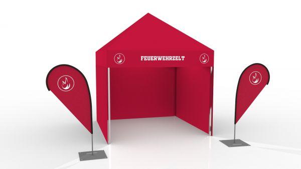 Einsatzzelt mobile Teststation - Faltzelt 3x3 bedruckt 3 Seitenwänden & 2 Beachflag
